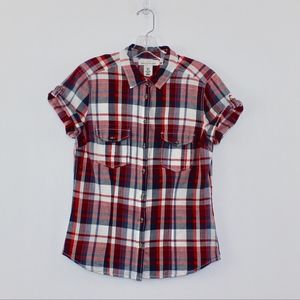 💘 H&M L.O.G.G. Short Sleeve Plaid Button Down Top
